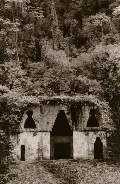 Temple of the Foliated Cross (Palenque), Toned Gelatin Silver Print, 9&quot;x6&quot;, signed and matted